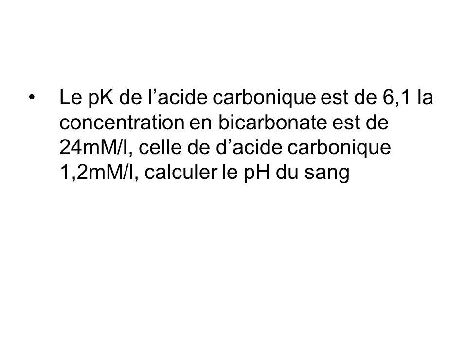 Le pK de l'acide carbonique est de 6,1 la concentration en bicarbonate est de 24mM/l, celle de d'acide carbonique 1,2mM/l, calculer le pH du sang