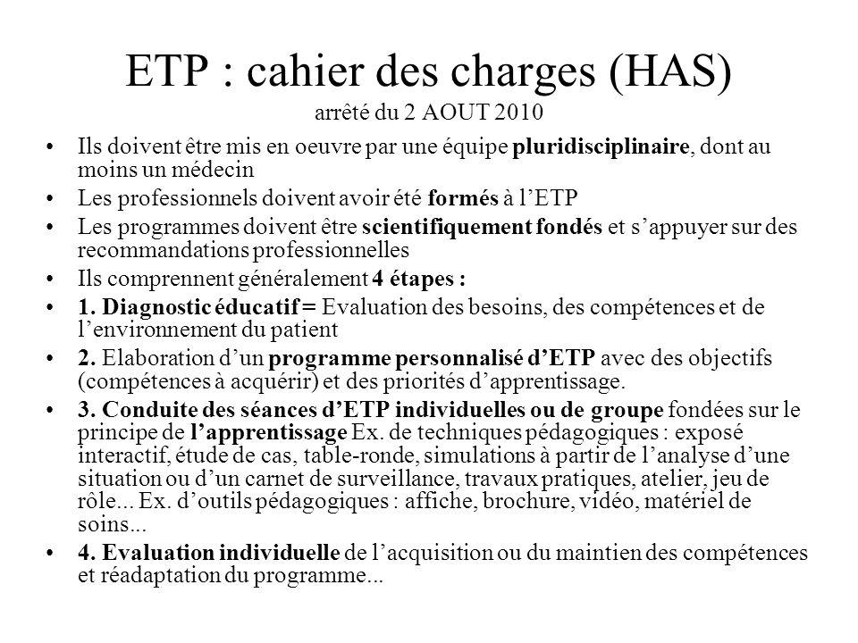 ETP : cahier des charges (HAS) arrêté du 2 AOUT 2010