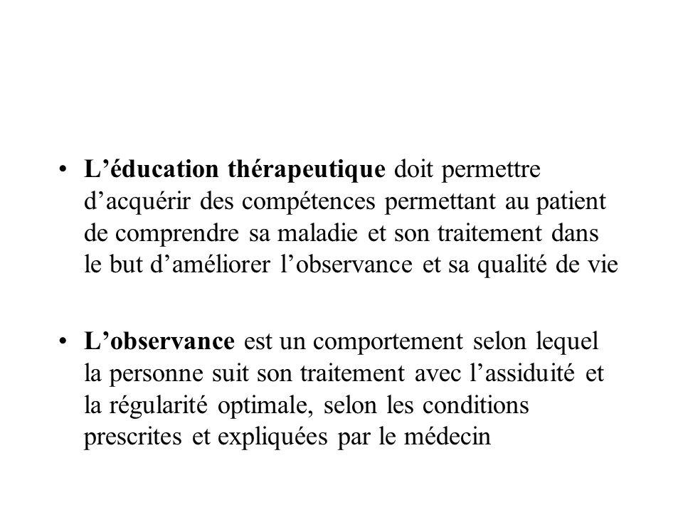 L'éducation thérapeutique doit permettre d'acquérir des compétences permettant au patient de comprendre sa maladie et son traitement dans le but d'améliorer l'observance et sa qualité de vie