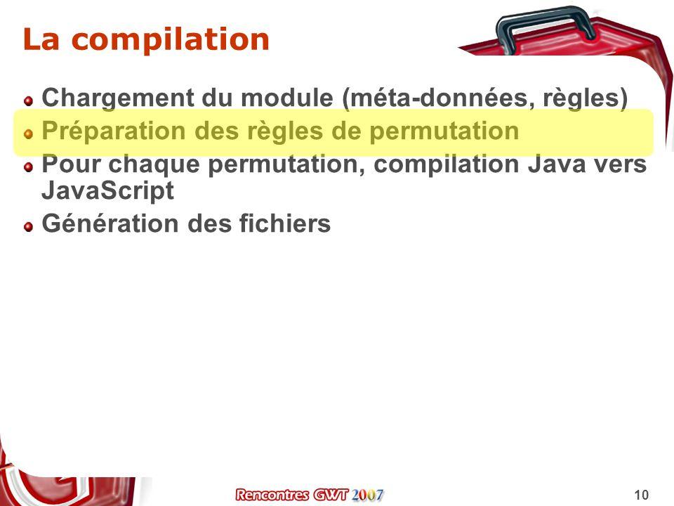 La compilation Chargement du module (méta-données, règles)