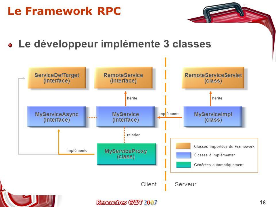 Le développeur implémente 3 classes