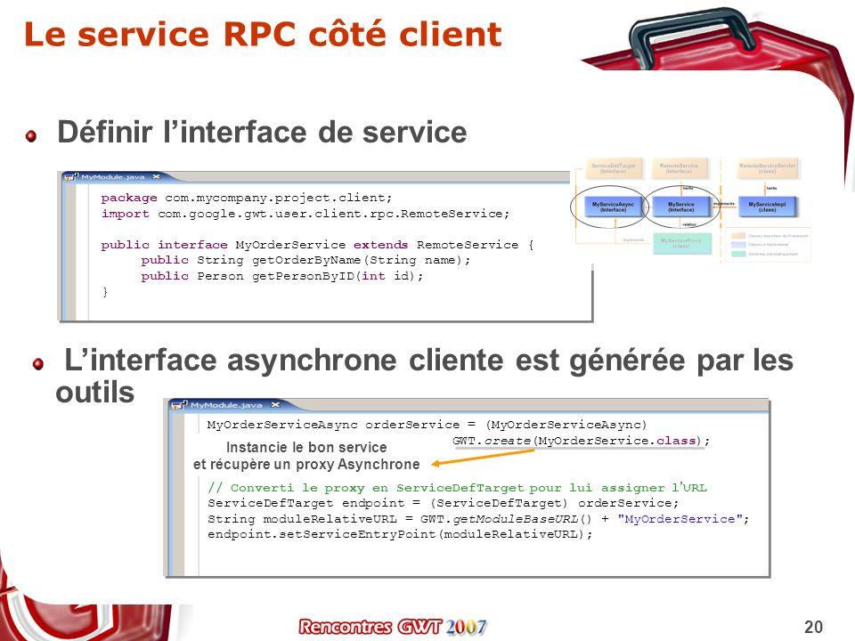 Le service RPC côté client
