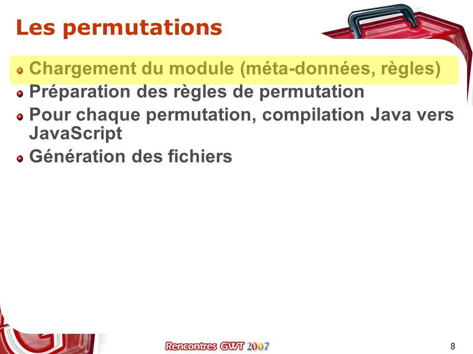 Les permutations Chargement du module (méta-données, règles)