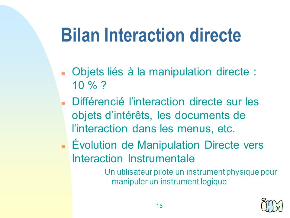 Bilan Interaction directe