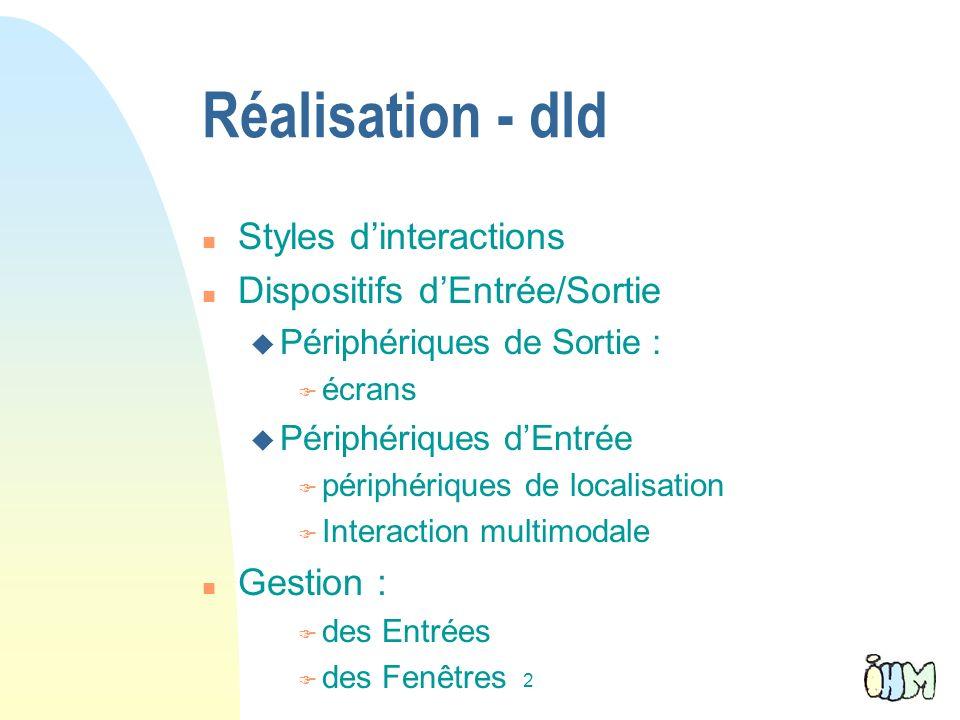 Réalisation - dld Styles d'interactions Dispositifs d'Entrée/Sortie