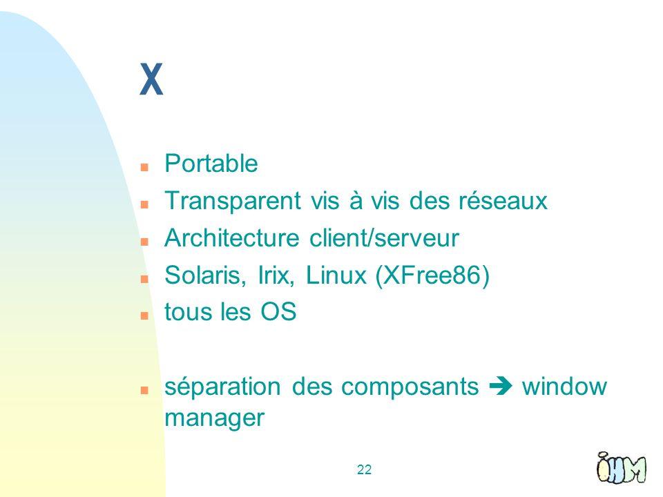 X Portable Transparent vis à vis des réseaux