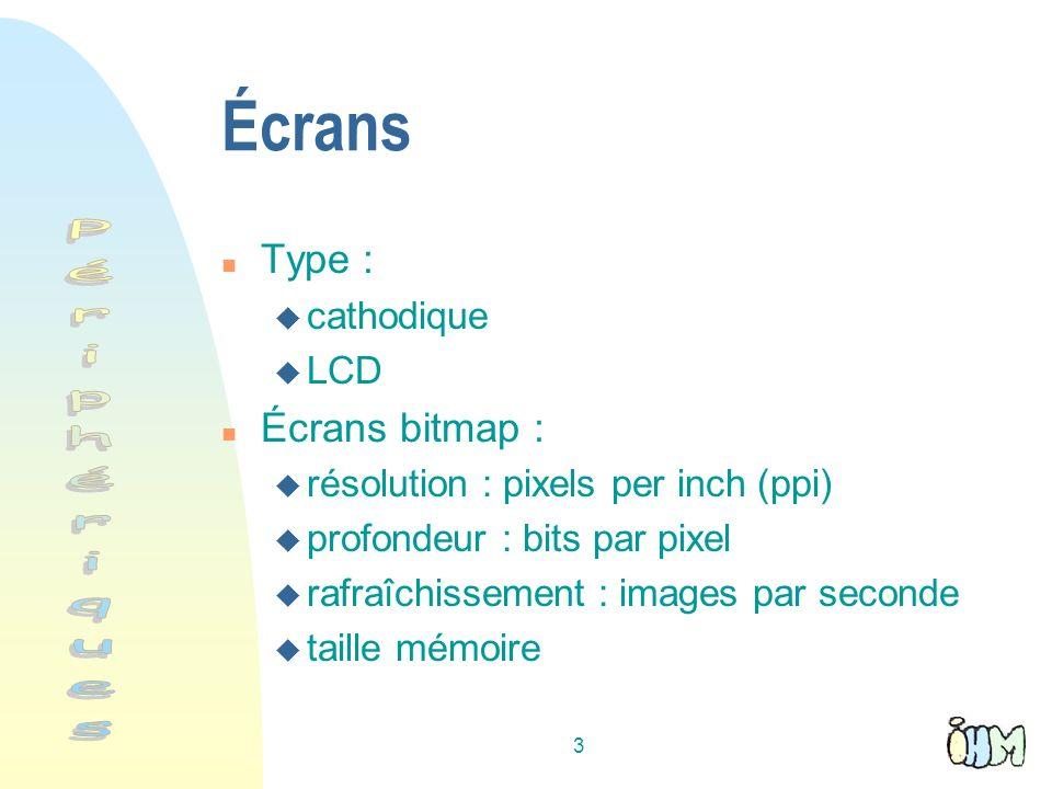 Écrans Périphériques Type : Écrans bitmap : cathodique LCD