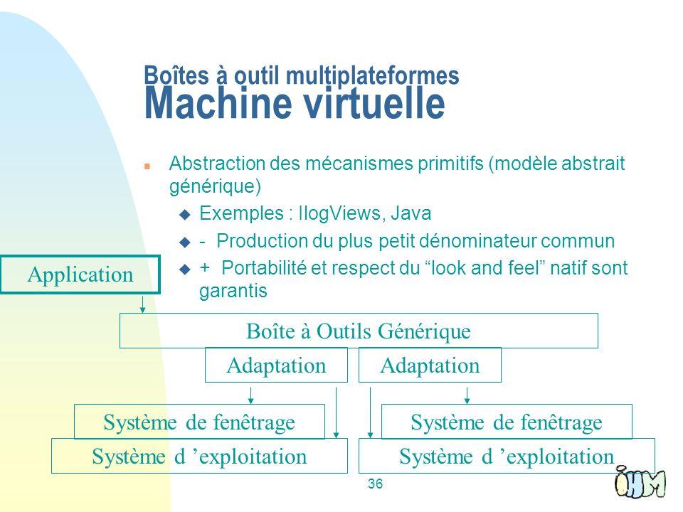 Boîtes à outil multiplateformes Machine virtuelle
