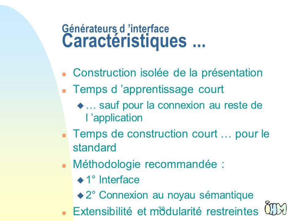 Générateurs d 'interface Caractéristiques ...