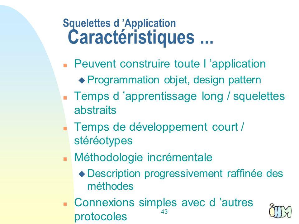 Squelettes d 'Application Caractéristiques ...