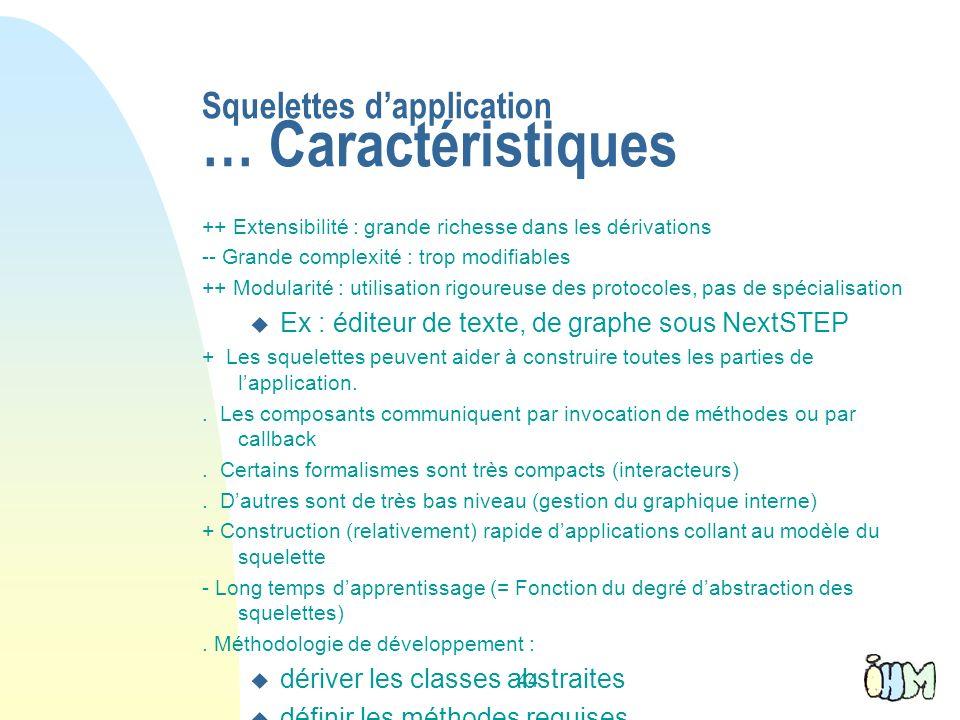 Squelettes d'application … Caractéristiques