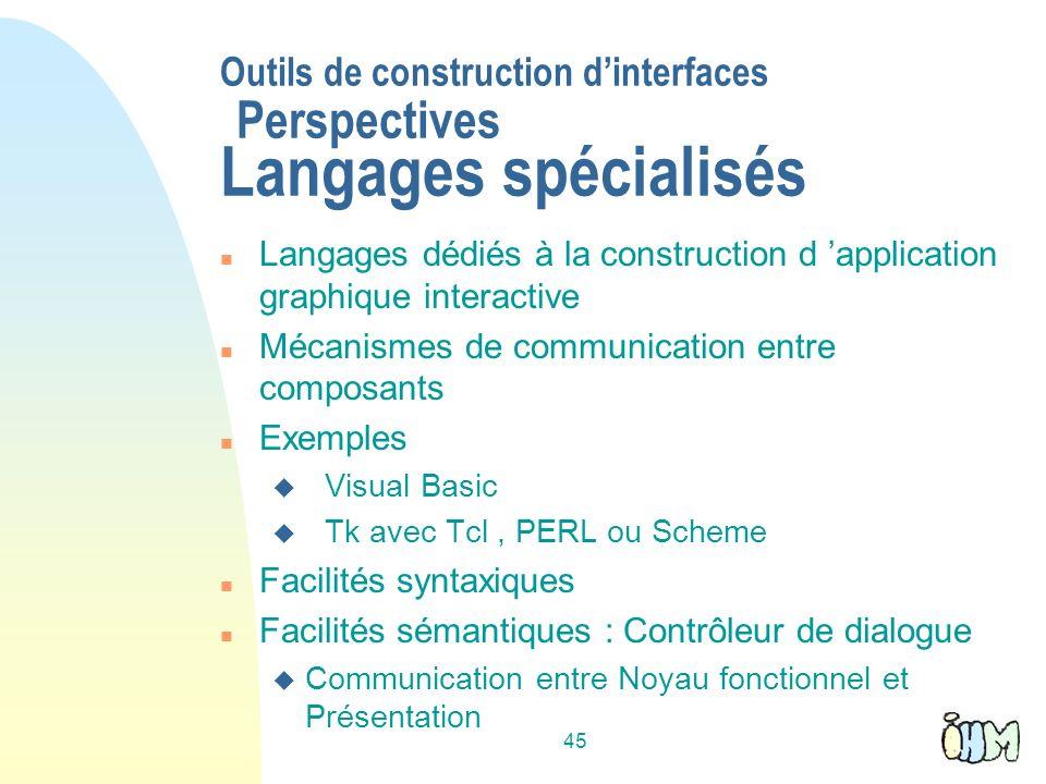 Outils de construction d'interfaces Perspectives Langages spécialisés
