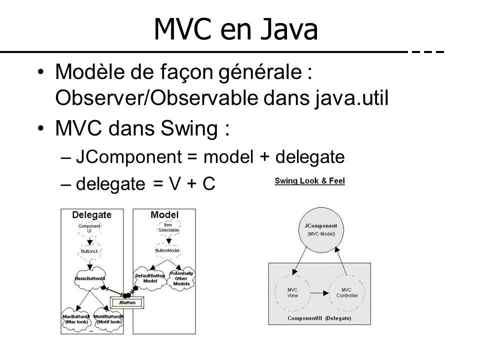 MVC en JavaModèle de façon générale : Observer/Observable dans java.util. MVC dans Swing : JComponent = model + delegate.