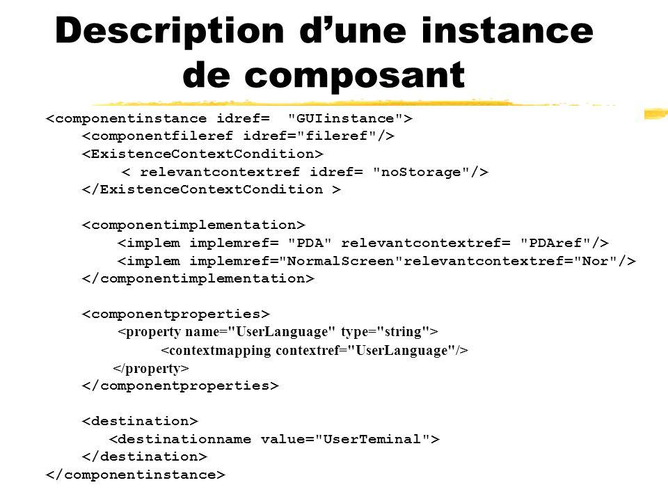 Description d'une instance de composant