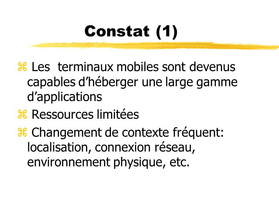 Constat (1) Les terminaux mobiles sont devenus capables d'héberger une large gamme d'applications.