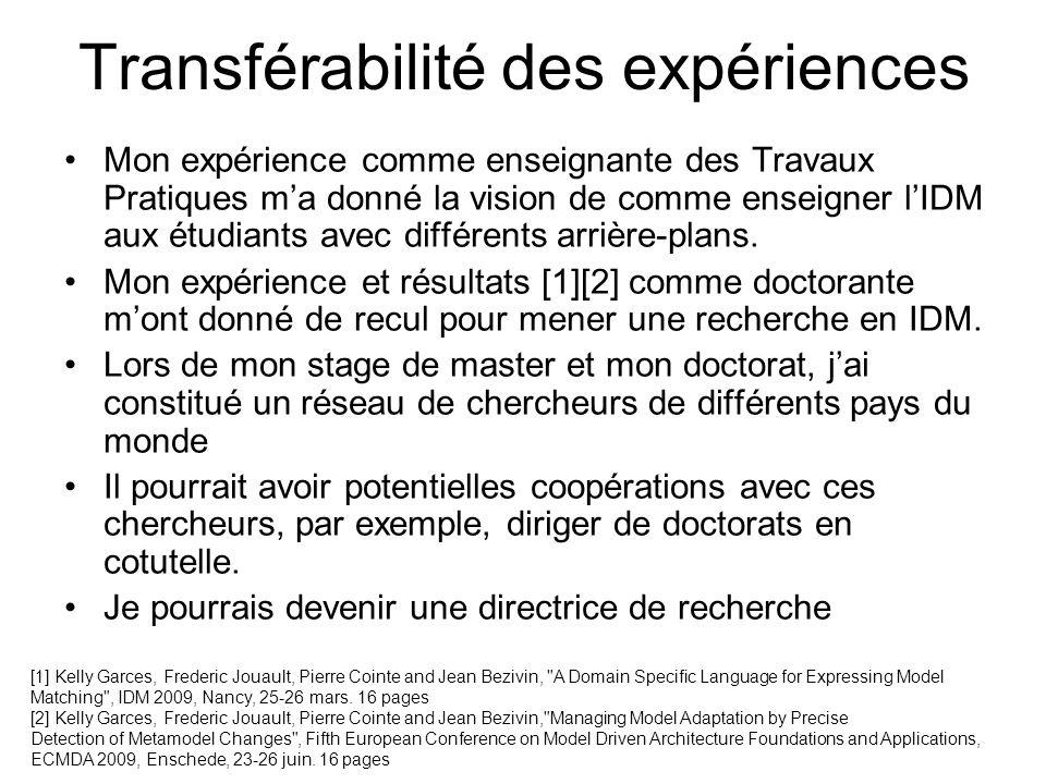 Transférabilité des expériences