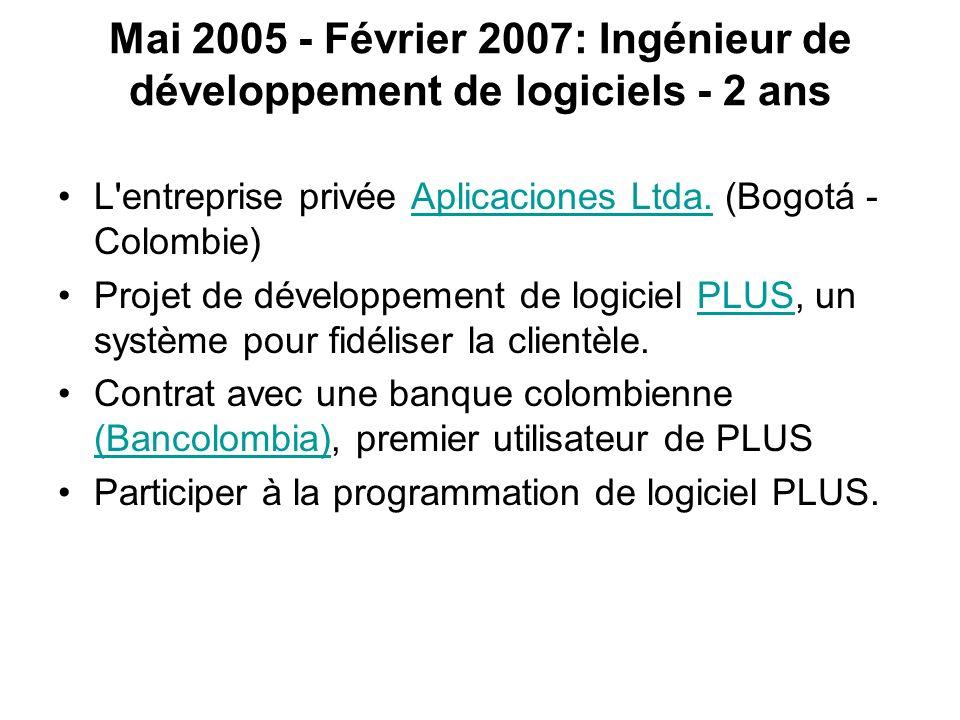 Mai 2005 - Février 2007: Ingénieur de développement de logiciels - 2 ans