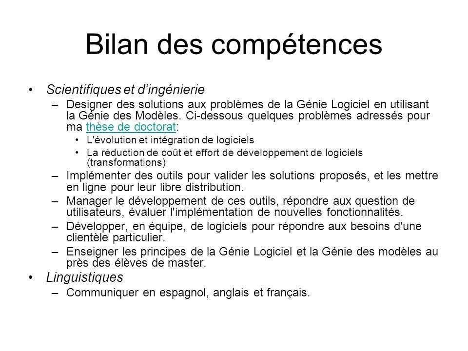 Bilan des compétences Scientifiques et d'ingénierie Linguistiques