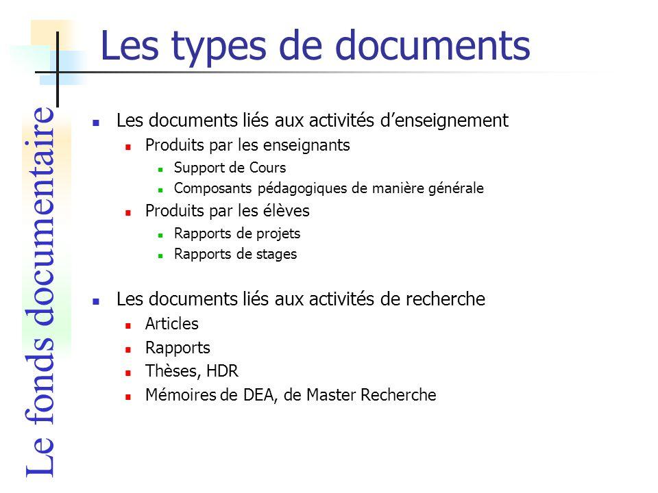 Les types de documents Le fonds documentaire