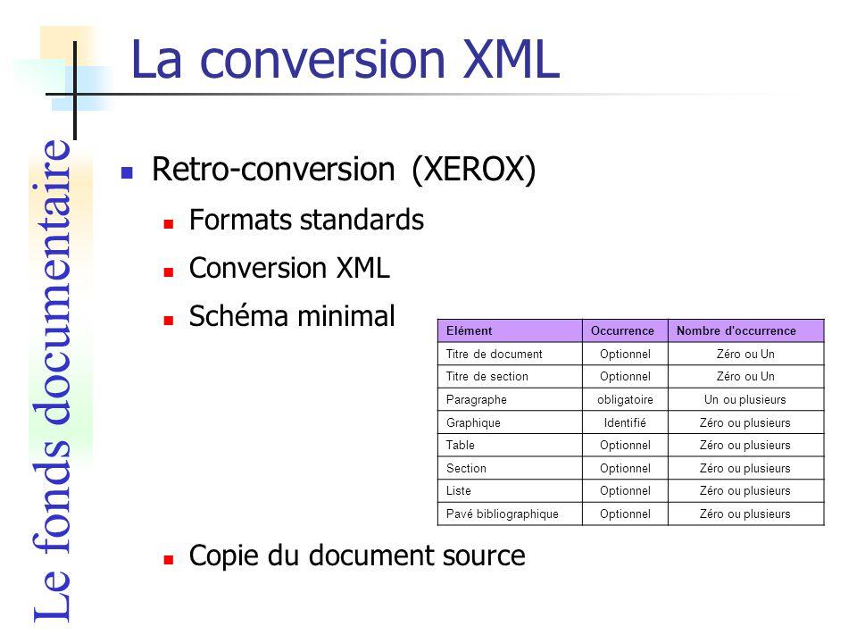 La conversion XML Le fonds documentaire Retro-conversion (XEROX)
