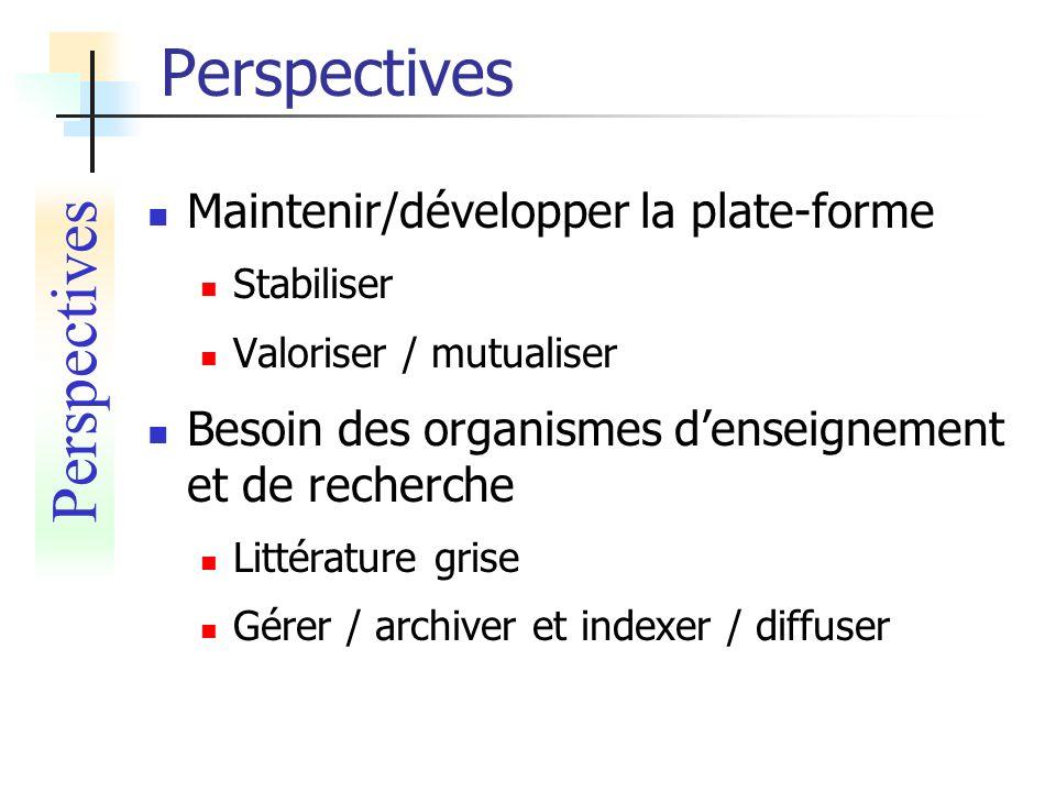 Perspectives Perspectives Maintenir/développer la plate-forme