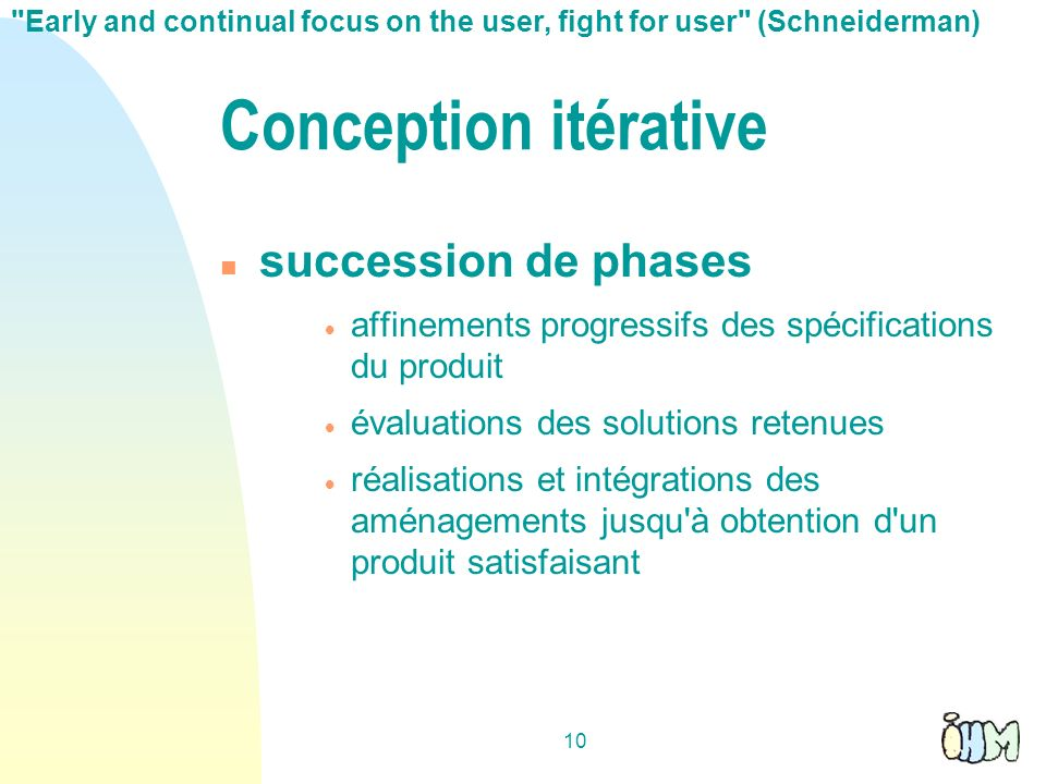 Conception itérative succession de phases