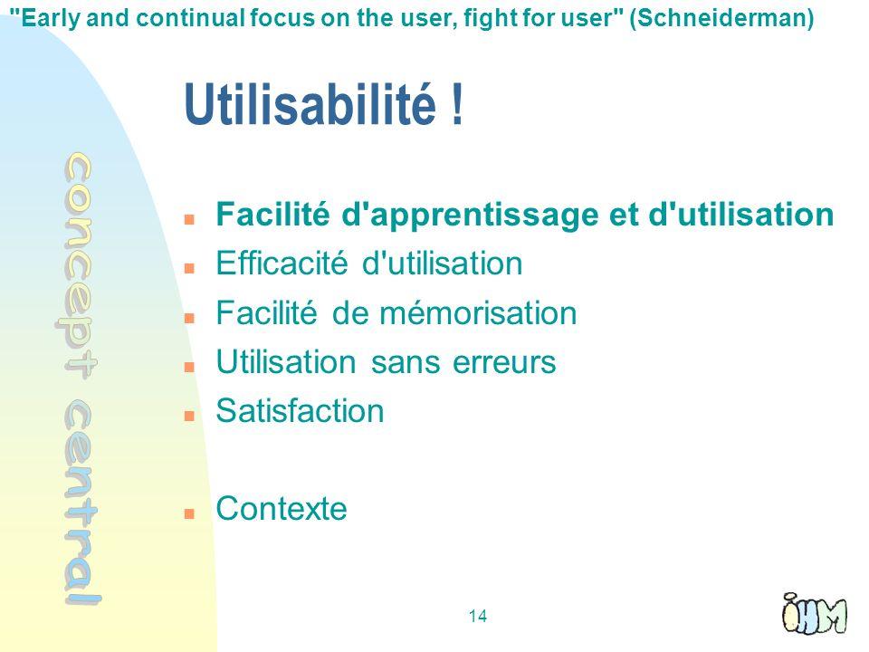 Utilisabilité ! concept central