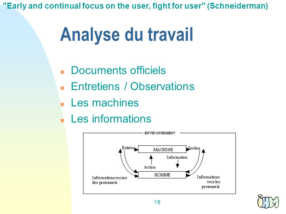 Analyse du travail Documents officiels Entretiens / Observations