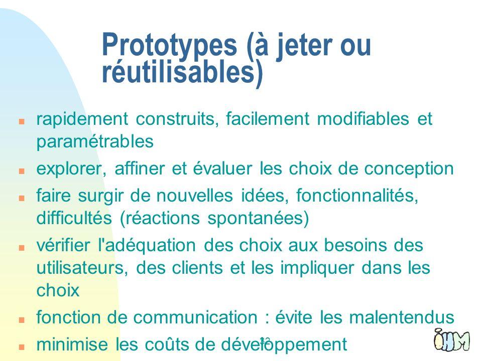 Prototypes (à jeter ou réutilisables)