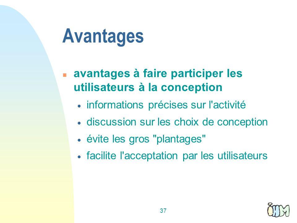 Avantages avantages à faire participer les utilisateurs à la conception. informations précises sur l activité.