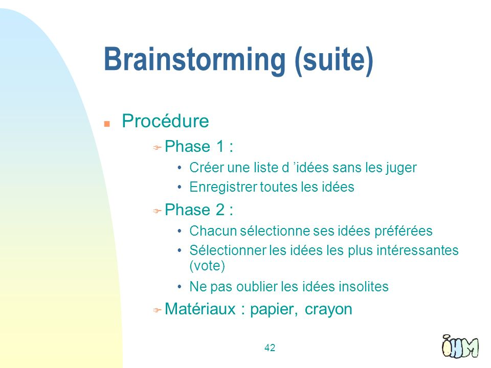 Brainstorming (suite)‏