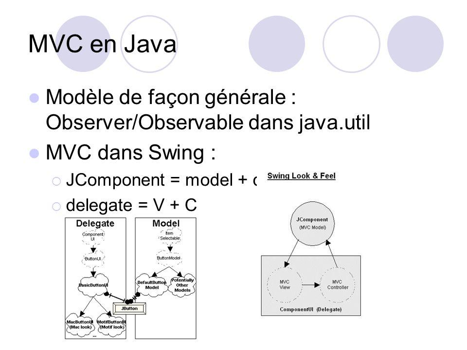 MVC en Java Modèle de façon générale : Observer/Observable dans java.util. MVC dans Swing : JComponent = model + delegate.