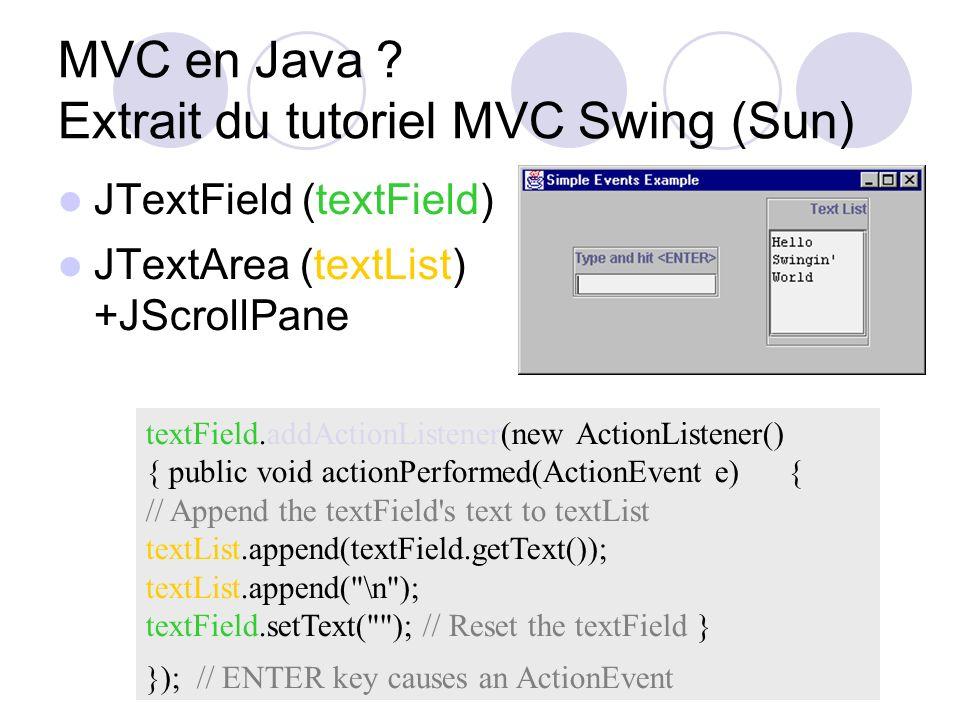 MVC en Java Extrait du tutoriel MVC Swing (Sun)