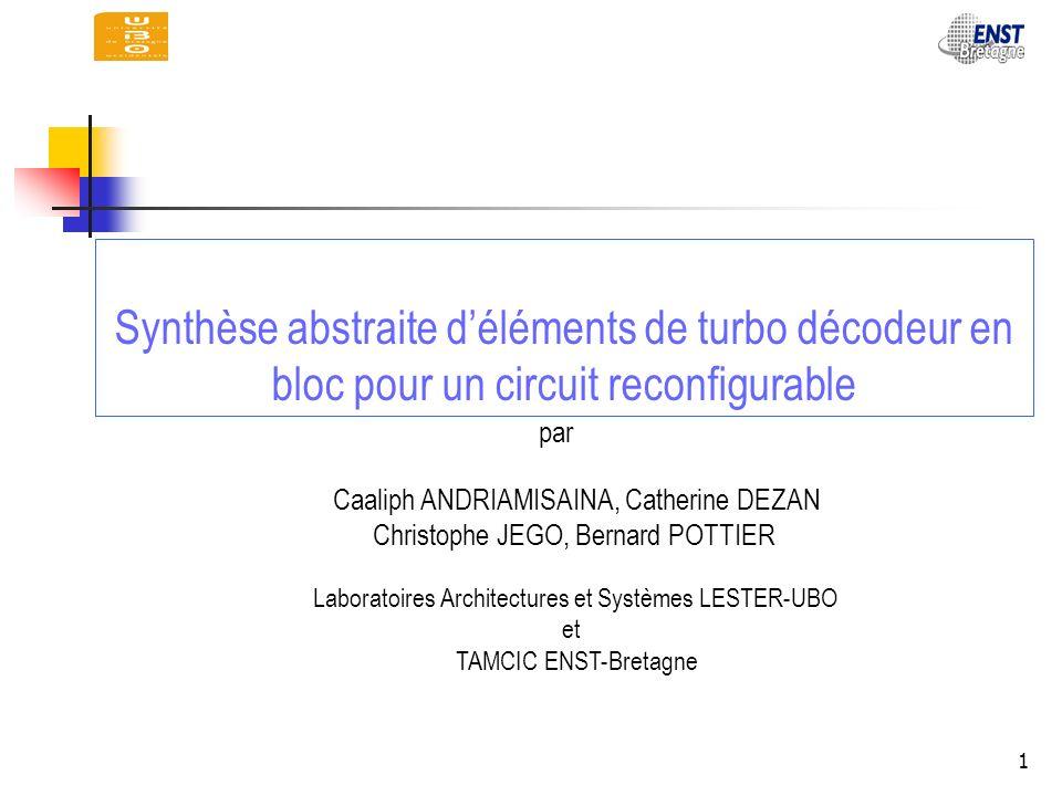 Synthèse abstraite d'éléments de turbo décodeur en bloc pour un circuit reconfigurable