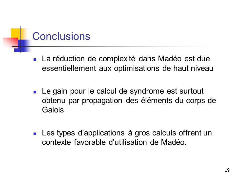Conclusions La réduction de complexité dans Madéo est due essentiellement aux optimisations de haut niveau.