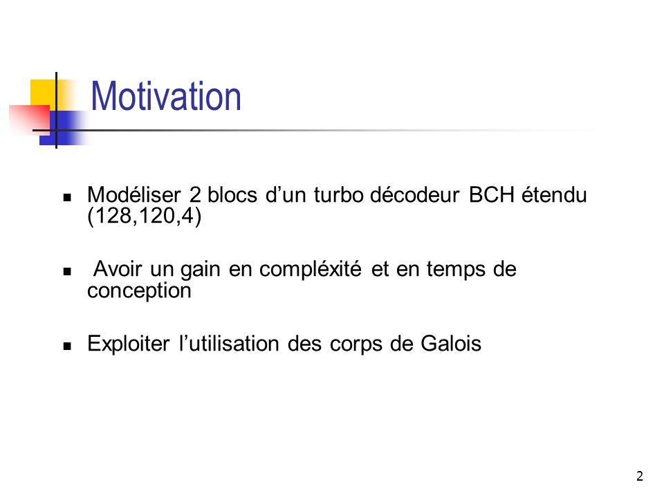Motivation Modéliser 2 blocs d'un turbo décodeur BCH étendu (128,120,4) Avoir un gain en compléxité et en temps de conception.