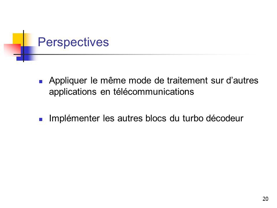 PerspectivesAppliquer le même mode de traitement sur d'autres applications en télécommunications.