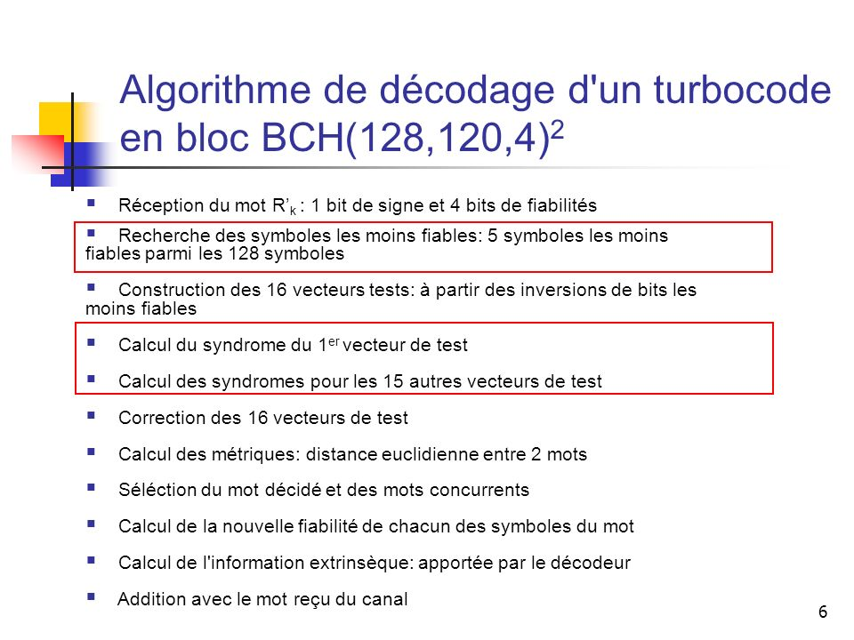 Algorithme de décodage d un turbocode en bloc BCH(128,120,4)2