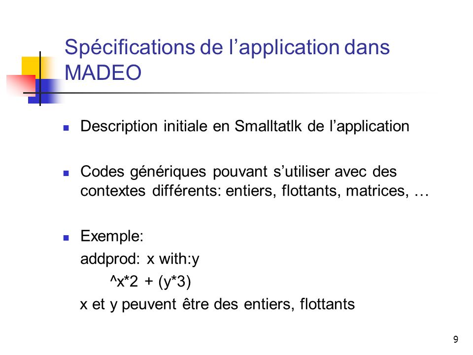 Spécifications de l'application dans MADEO