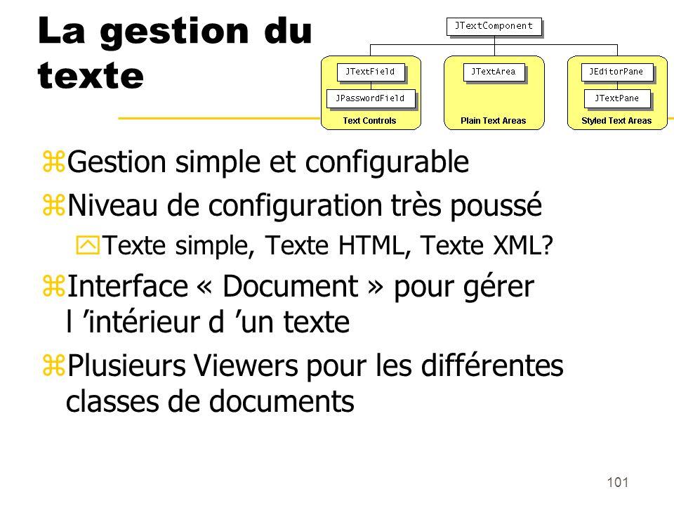La gestion du texte Gestion simple et configurable