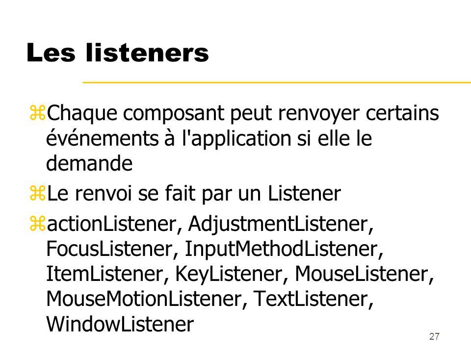 Les listeners Chaque composant peut renvoyer certains événements à l application si elle le demande.