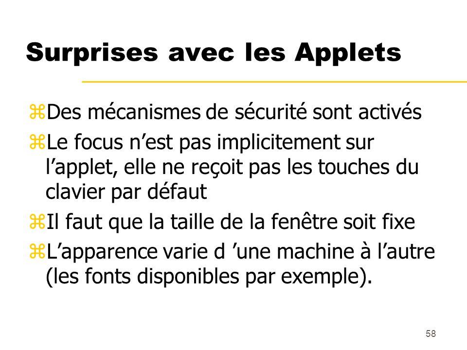 Surprises avec les Applets