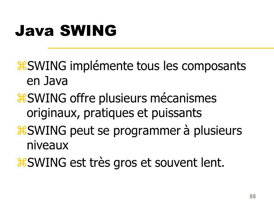 Java SWING SWING implémente tous les composants en Java