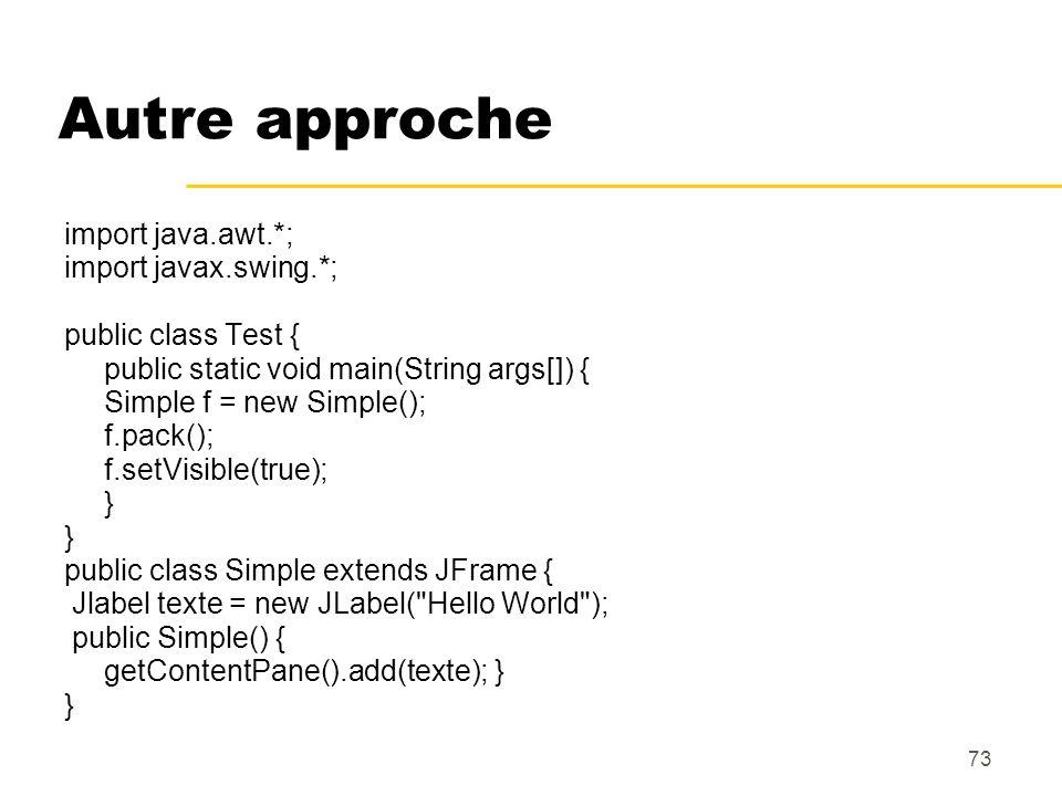 Autre approche import java.awt.*; import javax.swing.*;