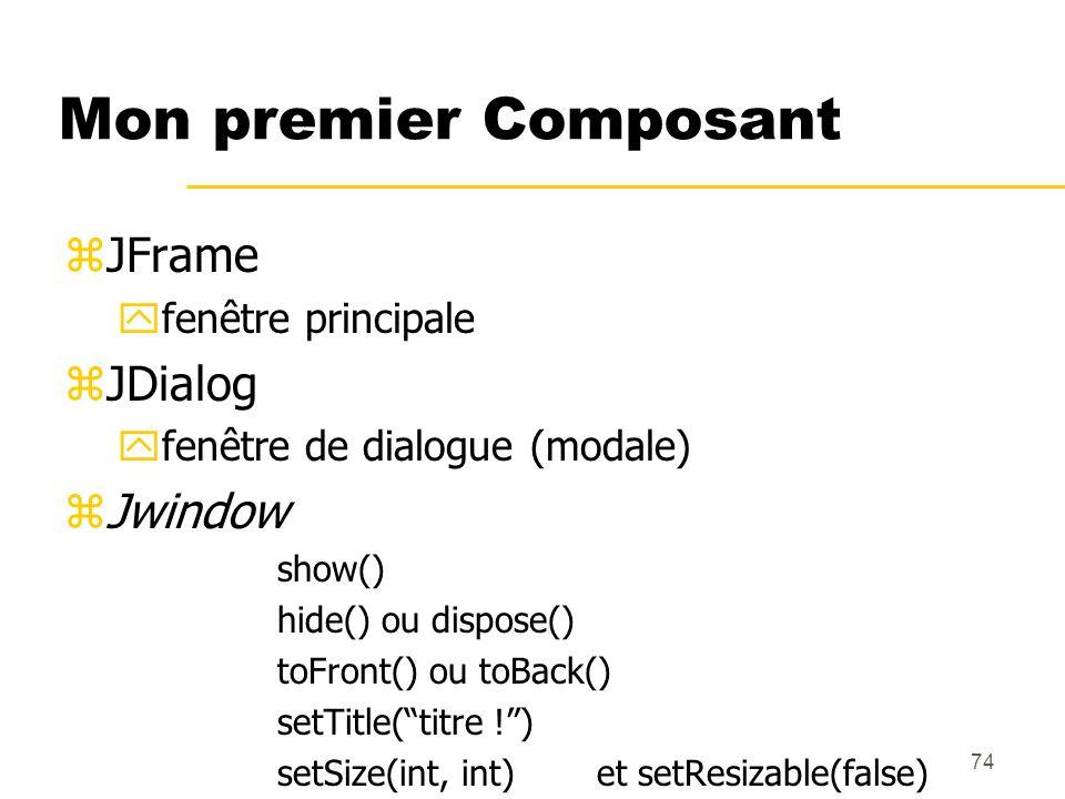 Mon premier Composant JFrame JDialog Jwindow fenêtre principale
