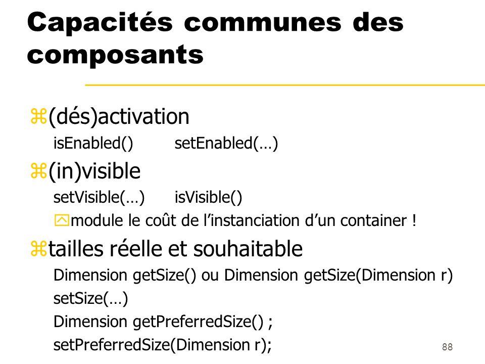 Capacités communes des composants