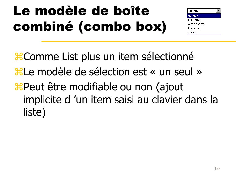 Le modèle de boîte combiné (combo box)