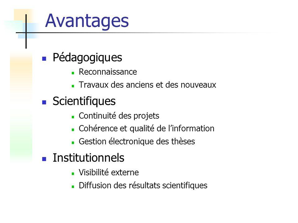 Avantages Pédagogiques Scientifiques Institutionnels Reconnaissance