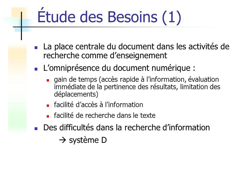 Étude des Besoins (1) La place centrale du document dans les activités de recherche comme d'enseignement.