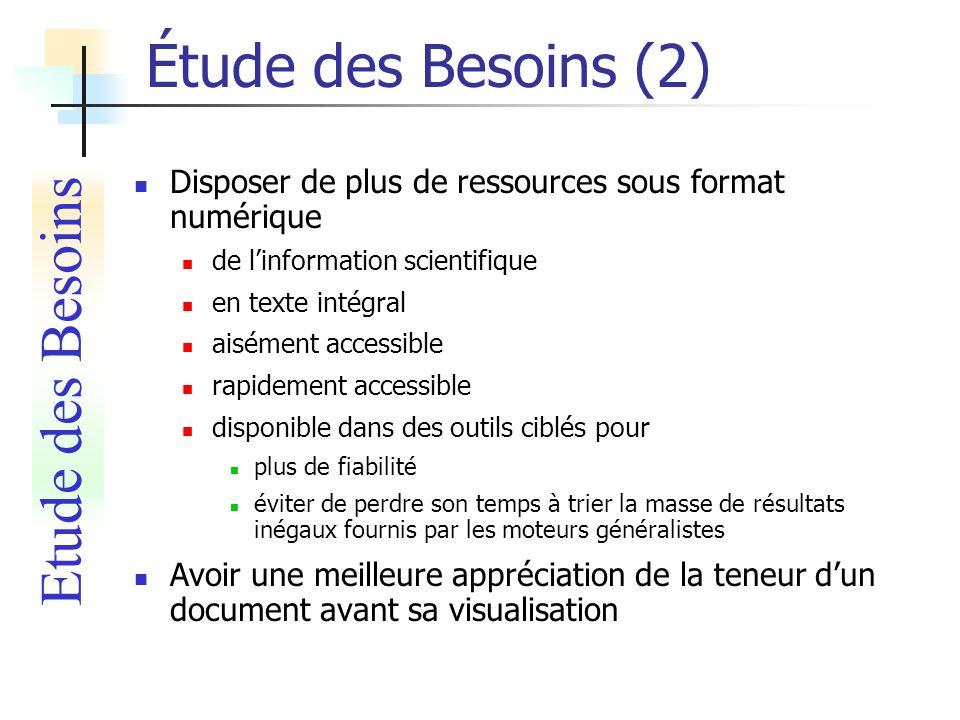Étude des Besoins (2) Etude des Besoins